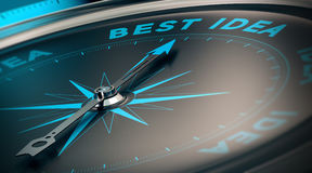 Best Idea. Compass with needle pointing the words best idea, concept image to illustrate vision and business strategy royalty free illustration