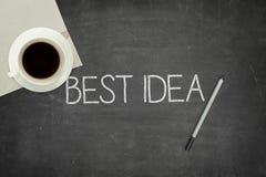 Best idea concept on black blackboard Royalty Free Stock Image