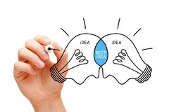Best Idea Light Bulbs Concept. Hand sketching Best Idea light bulbs concept with black marker. Teamwork makes the best ideas Stock Photography