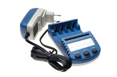 Best intelligent charger. Modern intelligent battery charger on a white background Stock Images