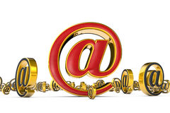 The best internet address (@). A single red & golden email symbo Stock Photo