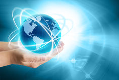 Best Internet Concept of global business. From concepts series. Glowing globe in hand