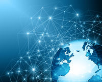 Best Internet Concept of global business from concepts series. Planet earth, and rays on a blue background, symbolizing the data line on the Internet. Internet Royalty Free Stock Images
