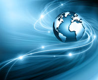 Best Internet Concept of global business from concepts series. Planet earth and rays on a blue background, symbolizing the data line on the Internet. Internet Royalty Free Stock Images