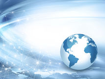 Best Internet Concept of global business from concepts series. Planet earth and rays on a blue background, symbolizing the data line on the Internet. Internet Stock Photo