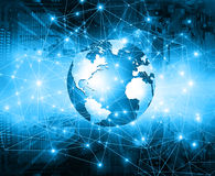 Best Internet Concept of global business. Globe, glowing lines on technological background. Electronics, Wi-Fi, rays Royalty Free Stock Images