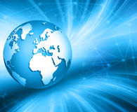 Best Internet Concept of global business. Globe, glowing lines on technological background. Electronics, Wi-Fi, rays Stock Photography