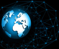 Best Internet Concept of global business. Globe, glowing lines on technological background. Electronics, Wi-Fi, rays Stock Photos