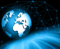 Best Internet Concept of global business. Globe, glowing lines on technological background. Electronics, Wi-Fi, rays Stock Photo