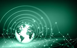 Best Internet Concept of global business. Globe, glowing lines on technological background. Electronics, Wi-Fi, rays Royalty Free Stock Photos
