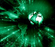 Best Internet Concept of global business. Globe, glowing lines on technological background. Electronics, Wi-Fi, rays Stock Images