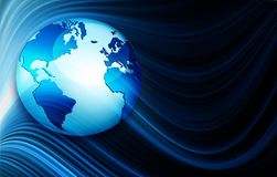 Best Internet Concept of global business. Globe, glowing lines on technological background. Wi-Fi, rays, symbols Royalty Free Stock Photography