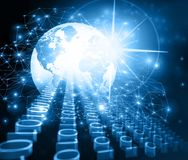 Best Internet Concept of global business. Globe, glowing lines on technological background. Wi-Fi, rays, symbols Royalty Free Stock Image