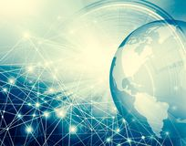 Best Internet Concept of global business. Globe, glowing lines on technological background. Wi-Fi, rays, symbols. Best Internet Concept. Globe, glowing lines on Stock Photos