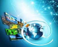 Best Internet Concept of global business. Globe, glowing lines on technological background. Wi-Fi, rays, symbols Stock Images