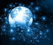 Best Internet Concept of global business. Globe, glowing lines on technological background. Wi-Fi, rays, symbols Stock Photography