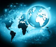 Best Internet Concept of global business. Globe, glowing lines on technological background. Wi-Fi, rays, symbols Royalty Free Stock Photos