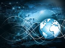 Best Internet Concept of global business. Globe, glowing lines on technological background. Wi-Fi, rays, symbols Stock Photo