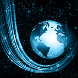 Best Internet Concept of global business. Globe, glowing lines on technological background. Wi-Fi, rays, symbols Stock Photos