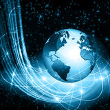 Best Internet Concept of global business. Globe, glowing lines on technological background. Wi-Fi, rays, symbols Royalty Free Stock Photo
