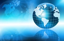 Best Internet Concept of global business. Globe, glowing lines on technological background. Wi-Fi, rays, symbols Royalty Free Stock Images