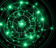 Best Internet Concept of global business.Technological green background. Rays  symbols Wi-Fi,  of the Internet Stock Photo