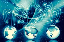 Best Internet Concept of global business. Globe, glowing lines on technological background. Wi-Fi, rays, symbols. Best Internet Concept. Globe, glowing lines on Royalty Free Stock Photography