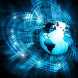 Best Internet Concept. Globe, glowing lines on Stock Image