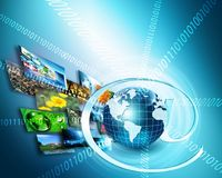 Best Internet Concept of global business. Globe, glowing lines on technological background. Wi-Fi, rays, symbols Stock Image