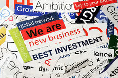 Best investment collage. Collage of paper headlines -we are new business Stock Image