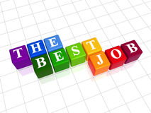 The best job colour. 3d colour boxes with text - the best job, word Stock Photography