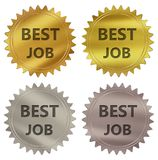 Best job guarantee label. Best job 3d rendered 4 color tag , golden guarantee label Stock Illustration