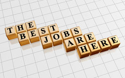 The best jobs are here in gold. 3d golden boxes with text - the best jobs are here, word Stock Photo