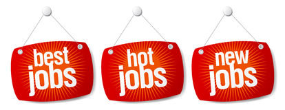 Best jobs signs. Best hot jobs signs set Stock Photography