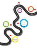 Best Journey Route. Road trip. Business and Journey Infographic Design Template with flags and place for your data. Winding road on a white background. Stylish Royalty Free Stock Photography