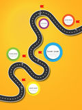 Best Journey Route. Road trip. Business and Journey Infographic Design Template with flags and place for your data. Winding road on a colorful background Stock Photography