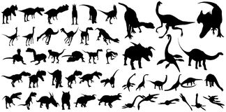 The best-known species of dinosaurs. The image is of a shape different types of dinosaurs. Herbivorous and carnivorous dinosaurs. Which include Tyrannosaurus Stock Photo