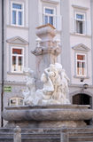 Fountain of the Three Rivers of Carniola in Ljubljana, Slovenia. Best-known work by Francesco Robba is the Fountain of the Three Rivers of Carniola, representing Royalty Free Stock Photos
