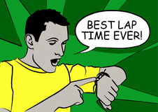 Best Lap. Cartoon of a man consulting his watch with a speech bubble: Best lap time ever Royalty Free Stock Photo