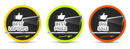 Best laptop. Best price. Big sale. Vector icon. Stock Image