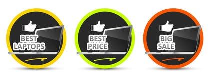 Best laptop. Best price. Big sale. Vector icon. Stock Image
