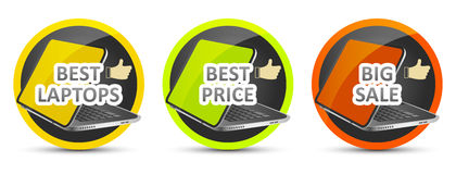 Best laptop. Best price. Big sale. Vector icon. Royalty Free Stock Images