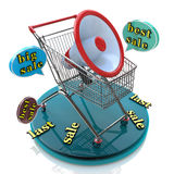 Marketing for best sales: shopping cart concept Stock Photography