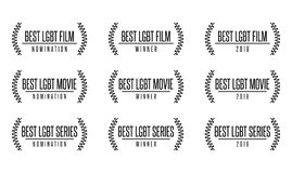Best lgbt movie film series nomiation award. Laurel vector logo icon set Royalty Free Stock Photography