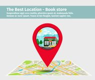 The best location book store. Point on the map with building, vector illustration Royalty Free Stock Photos