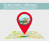 The best location coffee house. Point on the map with building, vector illustration Royalty Free Stock Photography