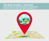 The best location fast food. Point on the map with building, vector illustration Royalty Free Stock Photo
