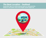 The best location seafood. Point on the map with building illustration, vector Royalty Free Stock Photography