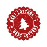 BEST LOTTERY Scratched Stamp Seal with Fir-Tree royalty free illustration