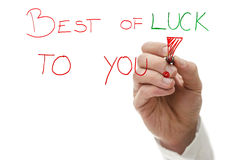Best of luck to you. Male hand writing text Best of luck to you! on a virtual whiteboard Stock Image